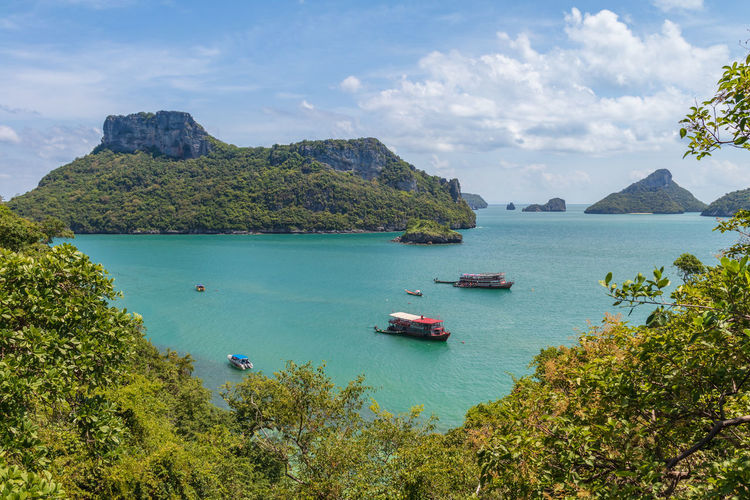 Angthong National Marine Park Thailand Beauty In Nature Cloud - Sky Day High Angle View Land Mode Of Transportation Mountain Nature Nautical Vessel No People Outdoors Sailboat Samui_thailand Scenics - Nature Sea Ship Sky Tranquil Scene Tranquility Transportation Tree Turquoise Colored Water