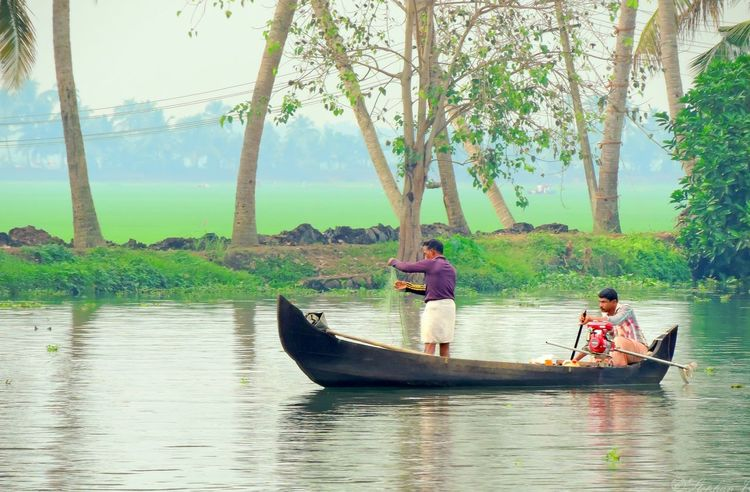 Fishing Man Fisherman River Alappuzha Kerala India Scenery Sky And Clouds Nikon