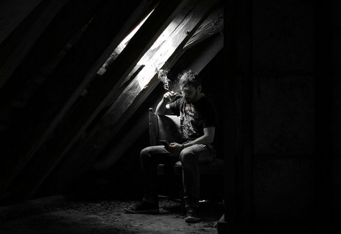 ~ Zeitgeist ✴ ~ One Person Indoors  Adult Sitting Social Issues Full Length Day Light And Shadow Black & White Monochrome Young Adult Moment Of Zen Tranquility Preparation  People One Man Only Adults Only Only Men Getting Inspired Light And Shadows Decaying Building Shadow Smoking Black Sabbath Sweet Leaf