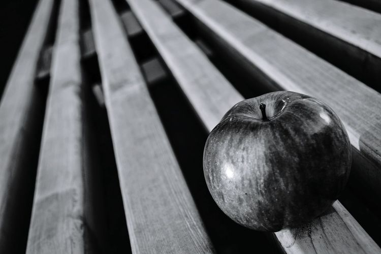 High Angle View Of Apple On Seat