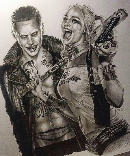 Harley Quinn y el Guason Harley Quinn Guason Escuadrón Suicida Dibujos Armas Sadomasoquismo LOCURAS Locos Realismo Realista First Eyeem Photo