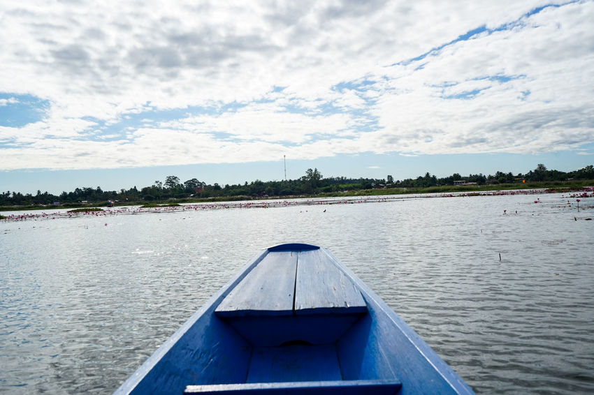 Water Nautical Vessel Sky Cloud - Sky Transportation Mode Of Transportation Nature Lake Day Beauty In Nature Scenics - Nature Tree No People Plant Tranquil Scene Outdoors Tranquility Rippled Kumphawapi Red Lotus In Thailand Red Lotus Thailand Red Lotus Lake ทะเลบัวแดง