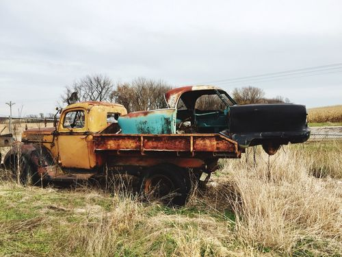 Grass Field Mode Of Transport Abandoned Nature Sky Land Vehicle Day Outdoors No People Landscape Tree Combine Harvester Abandonedvehicles Vintage Cars Rustygoodness Minnesotaphotographer