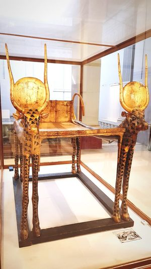 king Tout Bed one of the most ancient pharaohs. made from pure gold Tourist Destination History Art And Craft Museum Gold Pharaonic Civilization Table Indoors  Day Close-up
