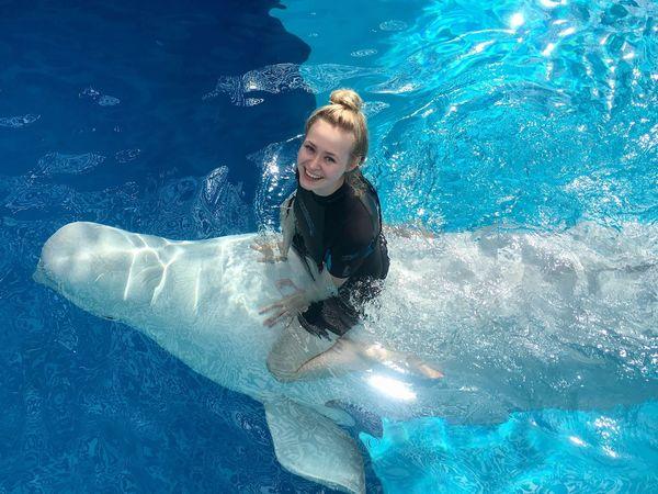 Mary My Daughter Beluga White Whale Whale Dolphinarium Water Happy Girl Sochi Russia