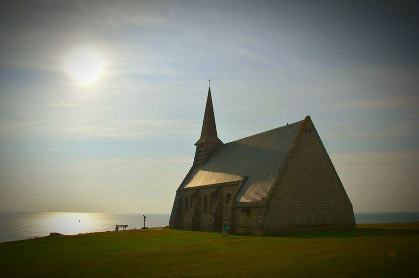 Eglise Mer Ciel Bleu Pleinair Joursoff Dayofffromwork Church Landscape Landscape_Collection Landscape_photography Beauty Of Nature Sea Bleu Sky Peace And Quiet à étretat Normandie France France Photos