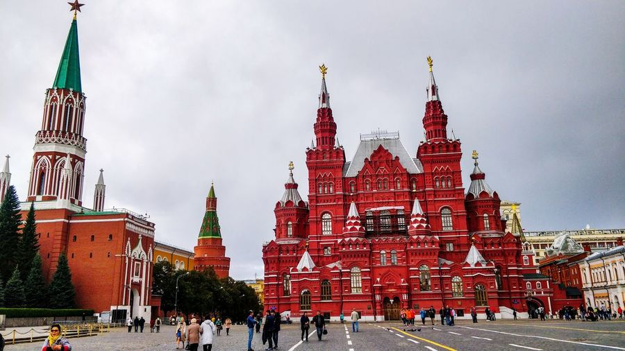 Red Square Moscow City Cityscape Urban Skyline Red Winter Sky Architecture Travel Snow Covered Tower Snowing Office Building Financial District  Historic Place Of Worship Skyscraper Church Blizzard Clock Tower Snowfall Spire  Tall - High Catholicism