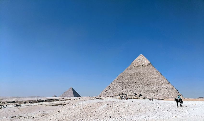 Ancient Civilization Clear Sky Desert Pyramid Arid Climate Ancient Old Ruin History Monument Triangle Shape Pyramid Shape Egyptian Culture Civilization