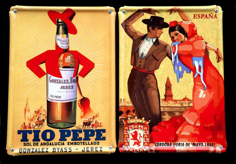 Tourist souvenirs, Madrid, Spain. Commercial Dock Flamenco Horizontal Iconic Madrid SPAIN Tacky Tourism Touristy Tío Pepe