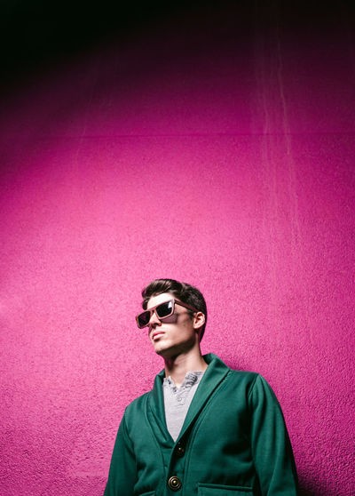 Model man with sunglasses Copy Space Fashion Glasses Lifestyle Light Man Caucasian Copyspace Fashion Photography Male Model Model Pose One Man Only One Mature Man Only person Portrait Purple Sunglasses