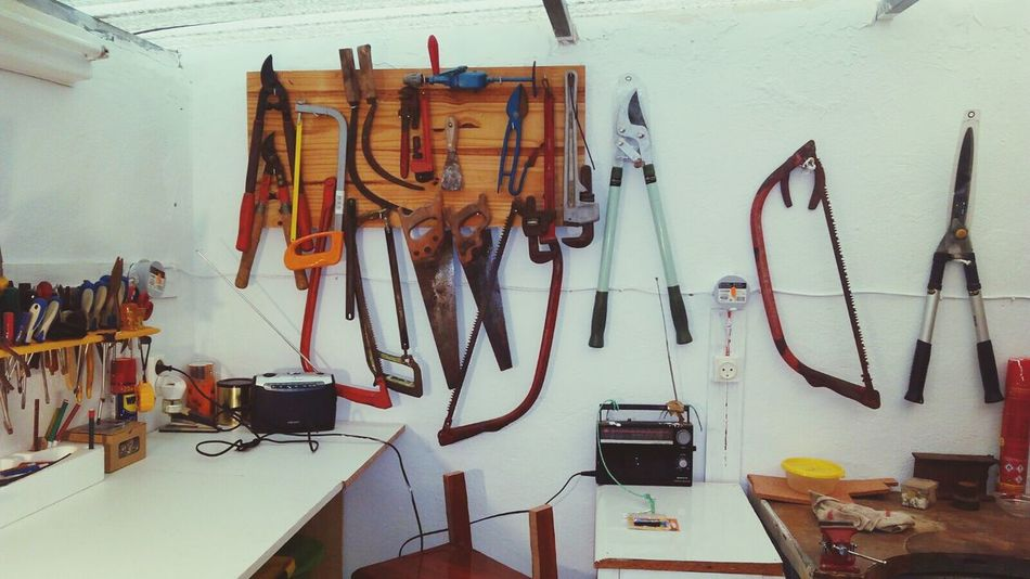 Hanging Workshop Indoors  Bicycle Shop Occupation Work Tool Variation Large Group Of Objects Auto Repair Shop Choice No People Repair Shop Pliers Day