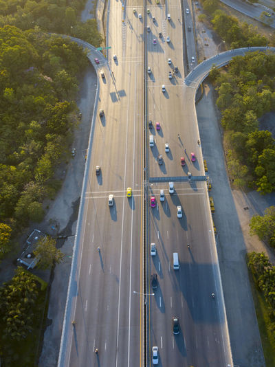 Aerial view of cars on multiple lane highway