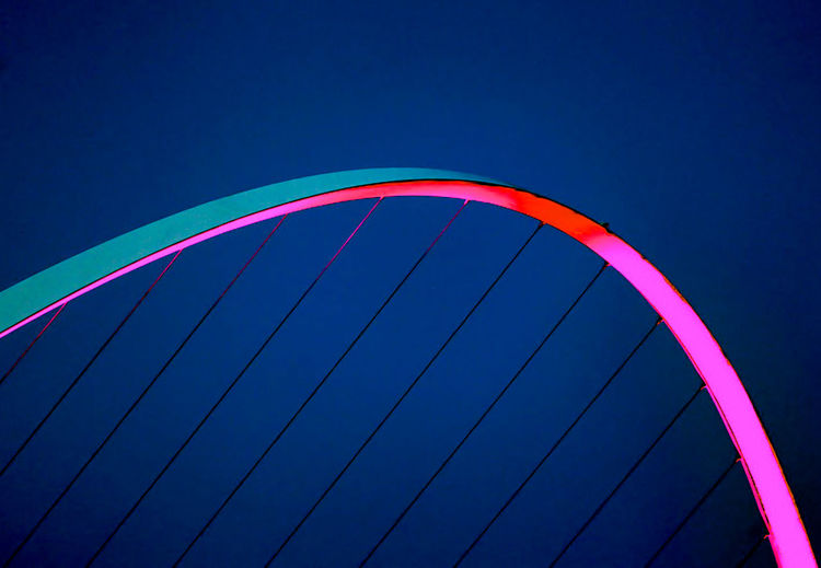 Bending Bend Bow Newcastle Upon Tyne Arch Blue Bridge City Day Low Angle View Multi Colored No People Outdoors Red Sky