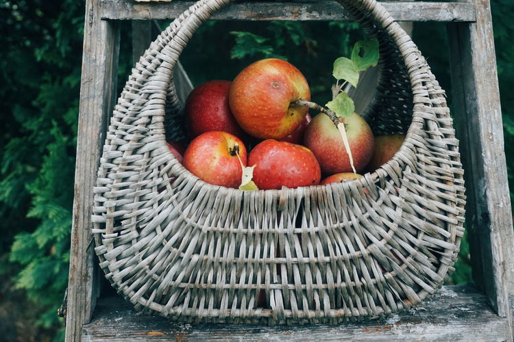 Close-up of apples in wicker basket