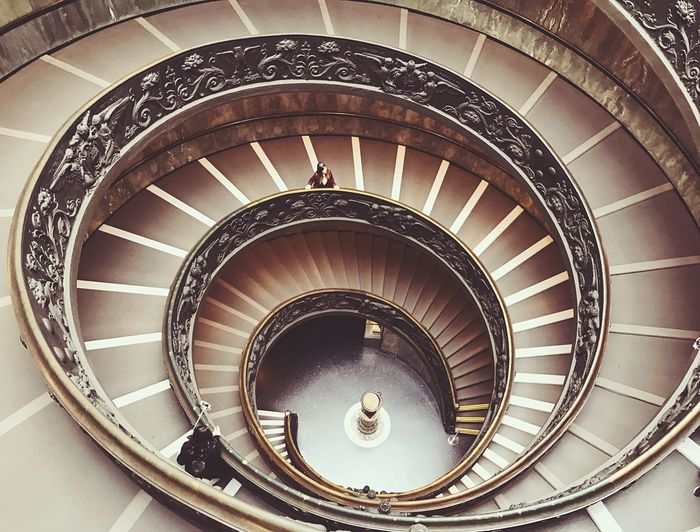 Museum Italy Vatican Steps And Staircases Staircase Railing Spiral Steps Spiral Stairs Architecture Stairs Built Structure Design Spiral Staircase High Angle View