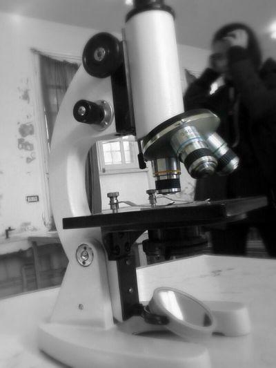 Taking Photos Education Microscope Black And White