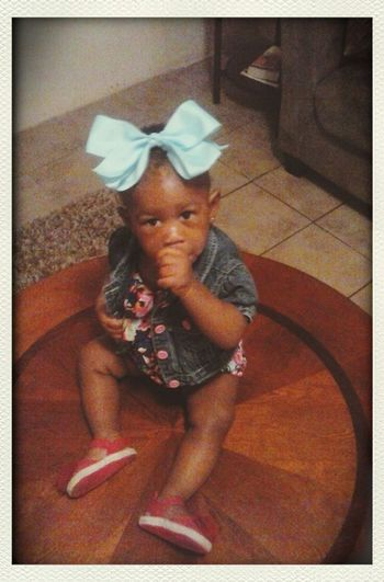 Old but new. Rayne is ready for daycare Jeanjacket . Bluebow New Rumperr Fashion&love&beauty