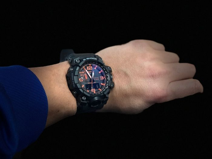 Mudmaster Maharishi Mahesh Yogi Casio Wristwatch Human Hand Human Body Part Time Black Background Studio Shot Watch