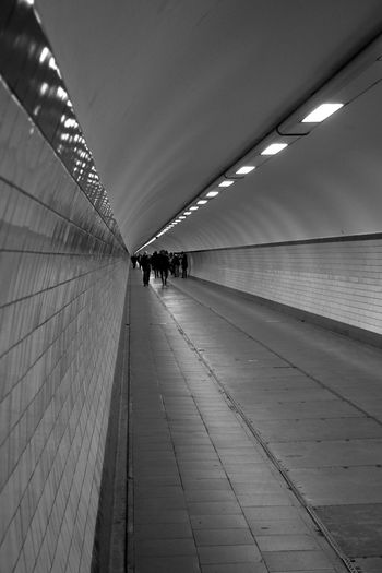 People In Illuminated Tunnel