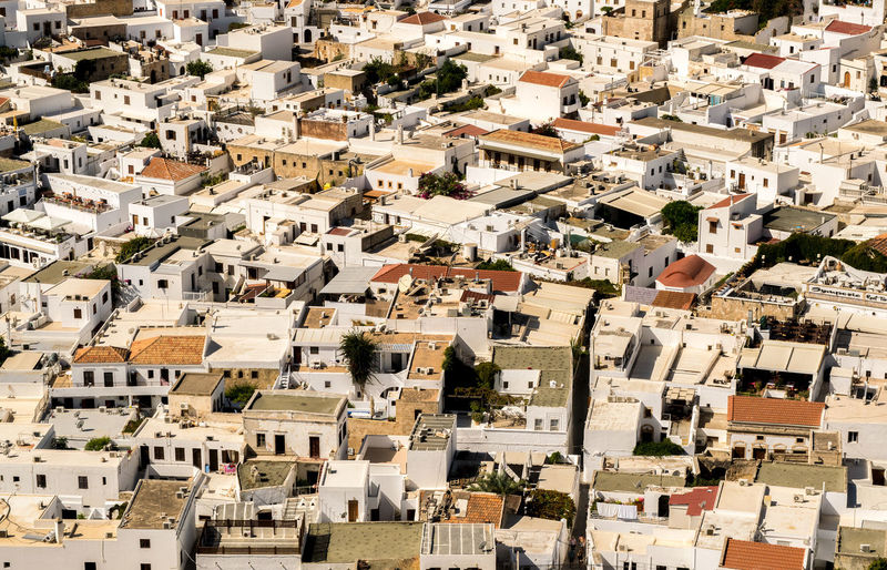 Architecture Building City Cityscape Greece High Angle View House Lindos Lindos Greece