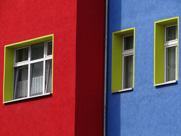 Colorful house front in Berlin Architecture Blue Building Building Exterior Built Structure Close-up Closed Colorful Colour Of Life Curtain Day Exterior Full Frame Green House House Front Multi Colored No People Outdoors Red Residential Building Residential Structure Wall Window