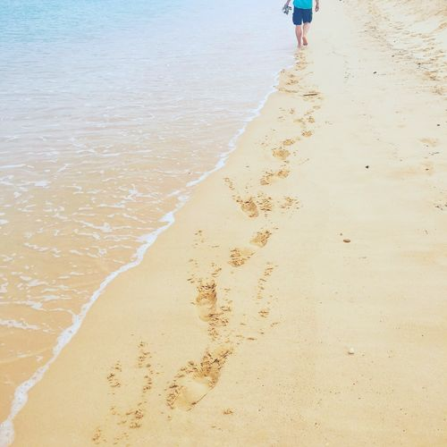 Beach Sand Human Leg Low Section Shore One Person Real People Human Body Part Nature Walking Outdoors Day Tranquil Scene Sea Water Beauty In Nature Women Sand Dune People