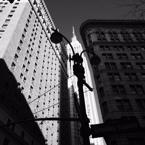 Low angle view of woman in city