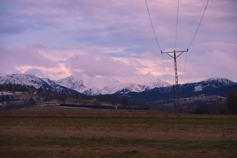 Poland Zakopane Mountain Sky Cable Nature No People Landscape Electricity  Scenics Beauty In Nature Mountain Range Electricity Pylon Cloud - Sky Tranquility Winter Cold Temperature Snow Outdoors