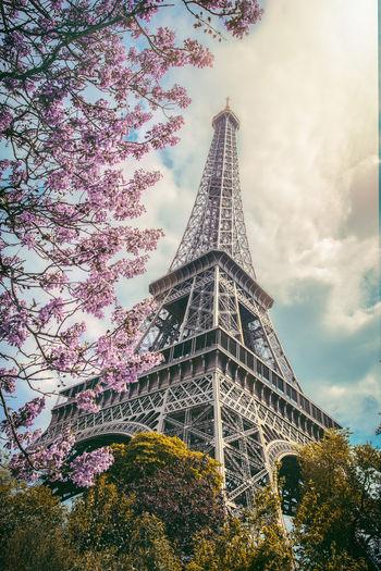 Spring makes Paris even more charming. Cityscape Eiffel Tower Paris Architecture Beauty In Nature Blossom Built Structure Canon Cloud - Sky Day Europe Landmark Landscape Nature Outdoors Sky Springtime Tourism Tower Travel Travel Destinations