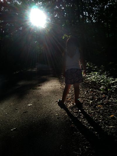Exploring Nature Shadow Sunbeams Dramatic Lighting Trees Nature Trail Asphalt Child Photography Feel The Journey Original Experiences