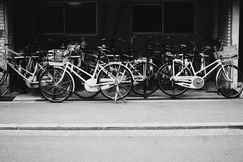 Bicycles parked at roadside