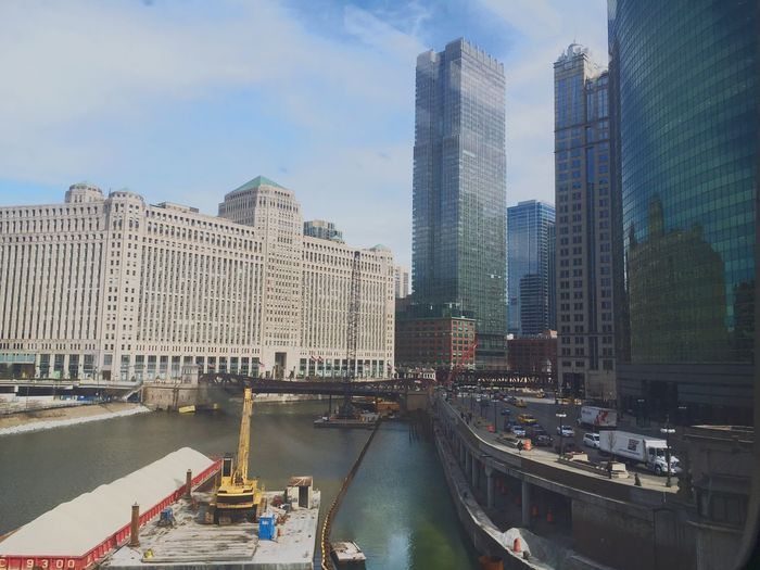 Merchandise Mart By Chicago River In City