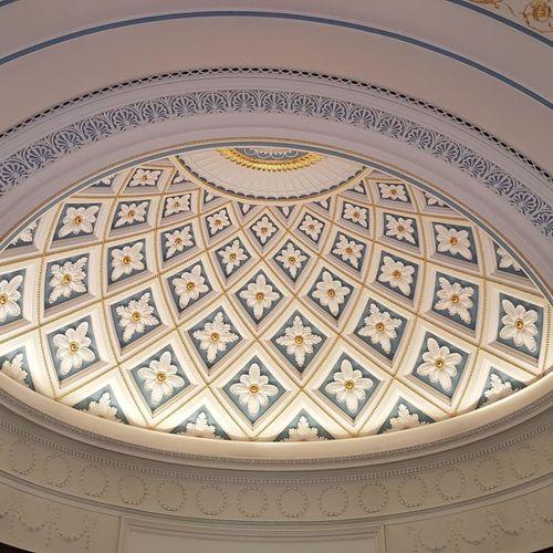 Gold Decoration Roof Understated Elegant Celing Desgin Symmetry White City Dome Architecture Built Structure Close-up