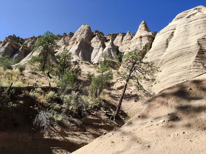 Rock Formation Clear Sky Physical Geography Geology Tranquil Scene Scenics Rock - Object Sunlight Eroded Nature Beauty In Nature Cliff Tranquility Mountain Sunny Non-urban Scene Outdoors Rocky Mountains Day Arid Climate Beauty In Nature Kasha-Katuwe Tent Rocks National Monument USA Tourism Miles Away