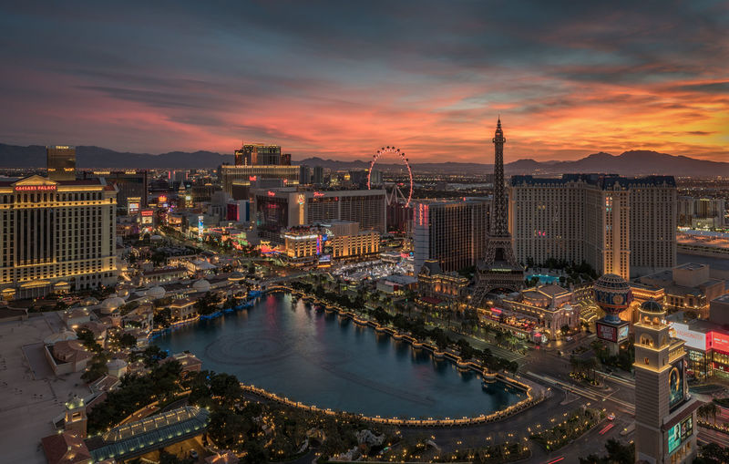 Las Vegas Sunrise Architecture Built Structure City City Life Cityscape Cityscapes Cloud Cloud - Sky Cloudy Development Elevated View Illuminated Modern No People Orange Color Outdoors Residential District Sky Skyscraper Sunrise Sunset Tall - High Tourism Travel Destinations Urban Skyline