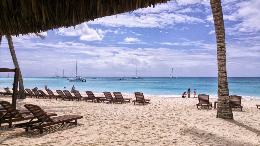 Enjoy the view Sea Beach Seaside Sand Tranquil Scene Nature Beauty In Nature Horizon Over Water Outdoors Scenics No People Travel Day Boat Resort Tourism Dominican Republic Relax Getaway  Outdoor Photography Island Caribbean Tropical Island Tropical Wanderlust