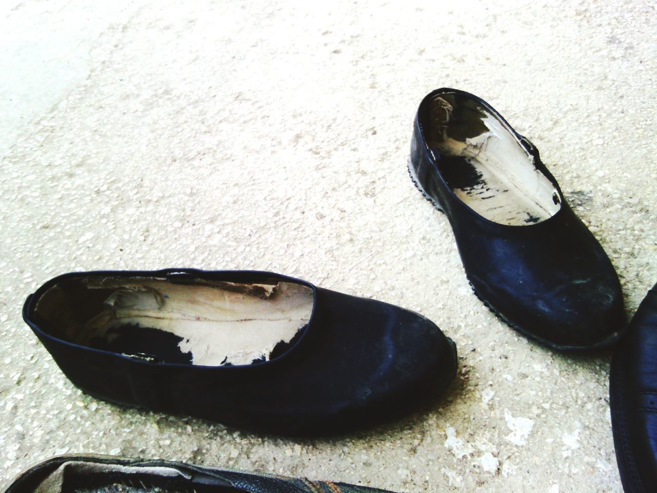 High Angle View Of Old Shoes