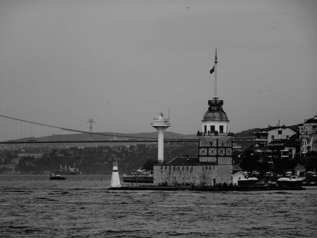 Monochrome Blackandwhite Black & White Kızkulesi Check This Out Sea Bosphorus Istanbul Turkey Once Upon A Time Architecture Old Buildings