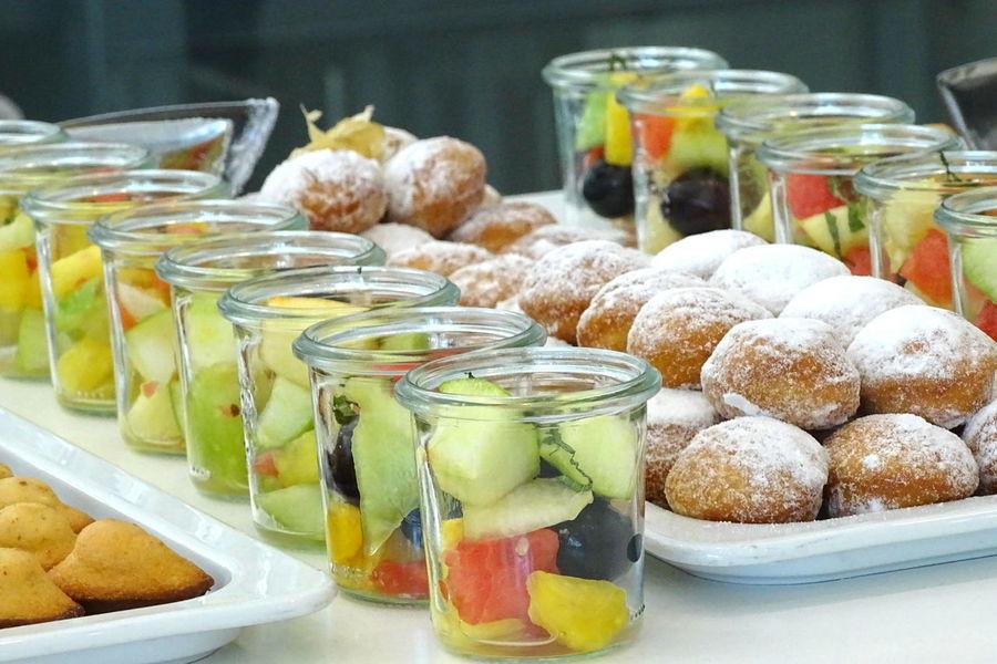 Desserts Obstgläser Quarkbällchen Food Freshness Nachspeise Ready-to-eat