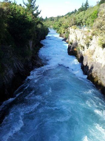 Huka Falls Rotorua New Zealand Blue the beginning of Waikato River