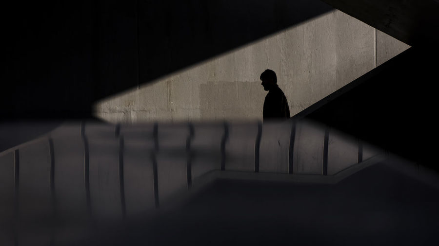 Shadow of man on steps