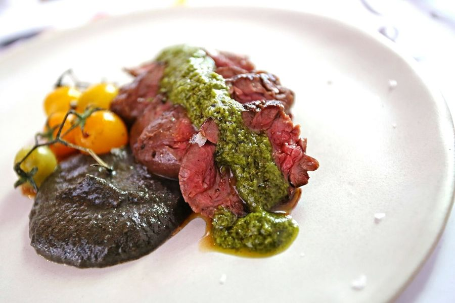 Wagyu beef and chimichurri sprinkled with rock salt. Wagyu Wagyubeef Chimichurri Lunch Food Redmeat 43 Golden Moments
