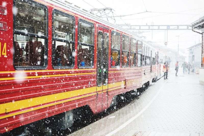 Train in city during winter