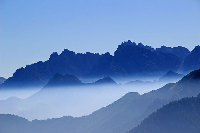 Alps Blue Dolomites Fog Gadertal Mountain Mountains Plan De Corones