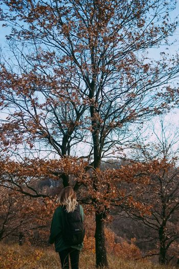 #The Week On EyeEm Autumn Bare Tree Beauty In Nature Branch Day Growth Leaf Leisure Activity Lifestyles Nature One Person Outdoors People Real People Rear View Sky Standing Tree
