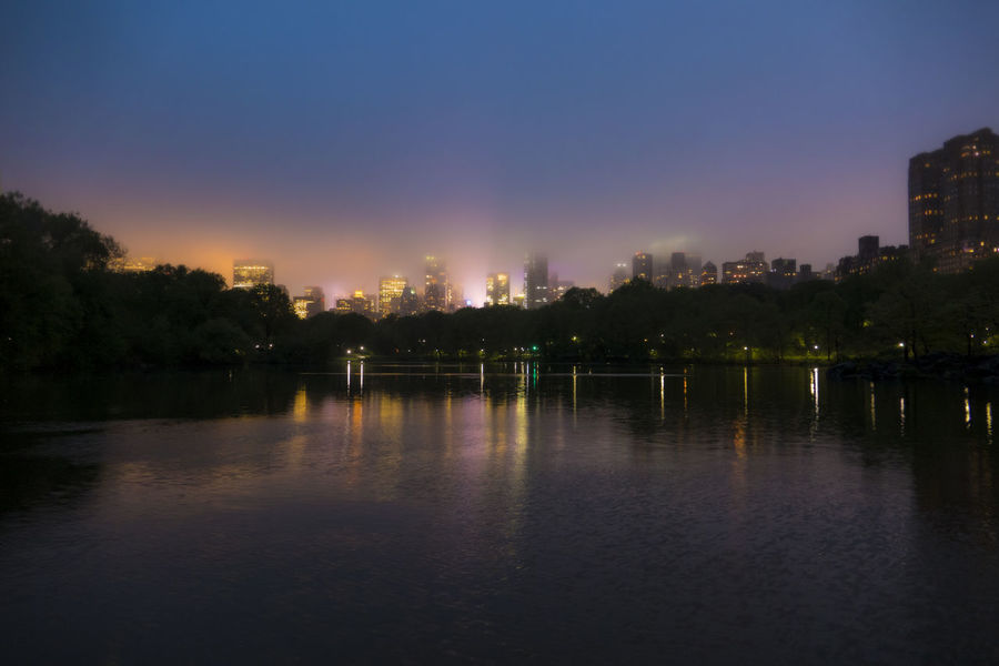 City Colorful Lake Light Pollution Night Lights Reflection Skyline Trees