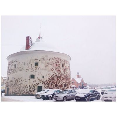Vyborg Taking Photos Winter Roundtower Oldtown Russia Photography