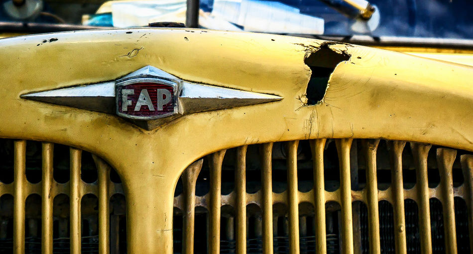 --FAP-- Car Cars Close-up Focus On Foreground Information Sign Macedonia Part Of Yellow