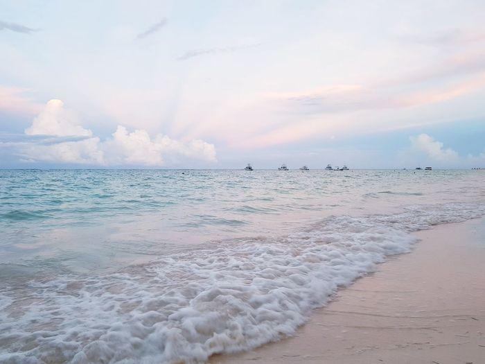 Water Wave Sea Flamingo Beach Sunset Pastel Colored Sand City Blue EyeEmNewHere