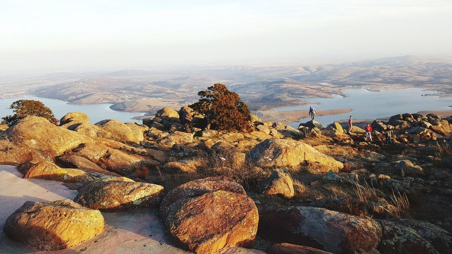 Scenic view of landscape seen from mt scott during foggy weather